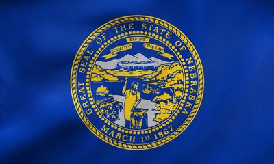 Flag of Nebraska waving, real fabric texture