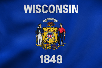 Flag of Wisconsin waving, real fabric texture