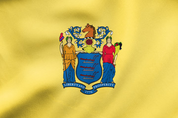 Flag of New Jersey waving, real fabric texture