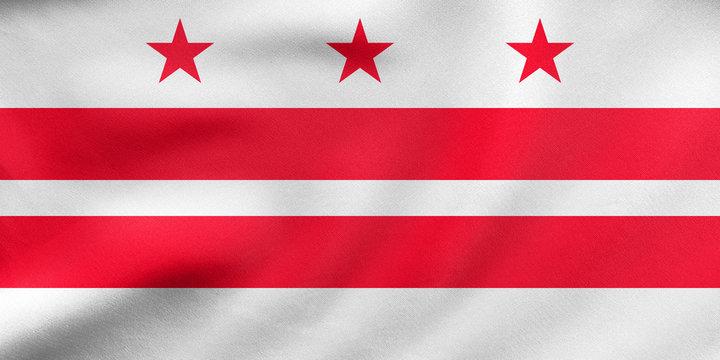 Flag of Washington, D.C. wavy, real fabric texture