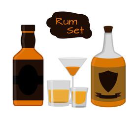 Flat rum set. Alcohol drink, glasses, shots, bottles of rum.