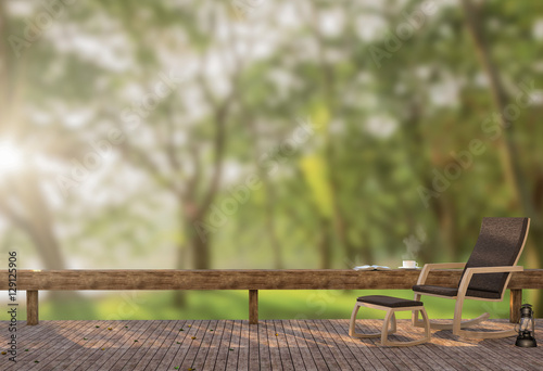 Wood Terrace In The Garden At Moning Time 3D Rendering Image, There Is A  Wooden