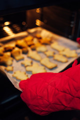 A woman takes out baked cookies from the oven