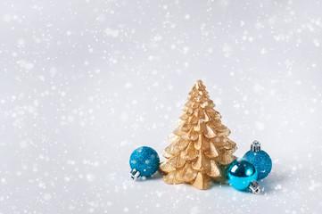 Christmas golden tree balls white background