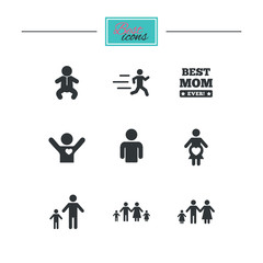 People, family icons. Maternity, person and baby signs. Best mom, father and mother symbols. Black flat icons. Classic design. Vector