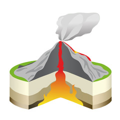The volcano cross section on white isolated.