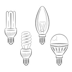 Set of light bulbs. Electricity lighting. Tracery hand drawn illustration for logo and design. Isolated on white. Binary monochrome black and white line art. Vector.