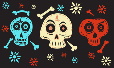 Skull vector. Day of the dead vector illustration set. Skulls and bones.