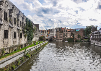 View of a canal in Ghent, Belgium, Europe