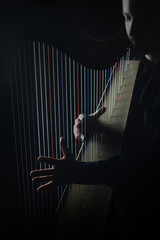 Harp player Irish harpist hands playing strings