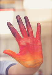 Painted human hand photograph