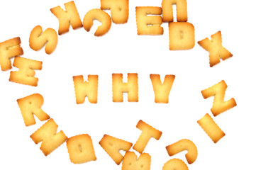 Biscuit alphabets spelling to 4P marketing, business concept