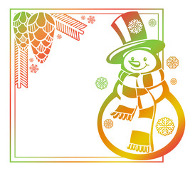 Gradient frame with funny snowman, holly berries and pine cones silhouettes.