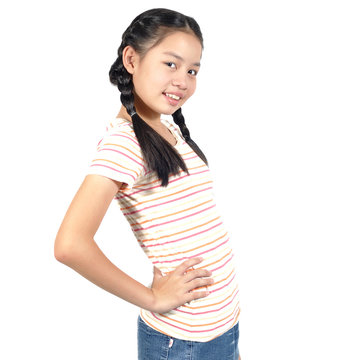 12 Years old Asian girl  post profile on white background.