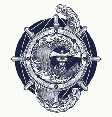 Steering wheel ship tatto art, sea tattoo and t-shirt design