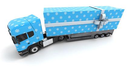 Blue Christmas gift truck