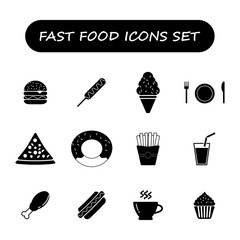 fast food black and white icons set,vector Illustration EPS10