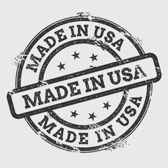 Made in USA rubber stamp isolated on white background. Grunge round seal with text, ink texture and splatter and blots, vector illustration.