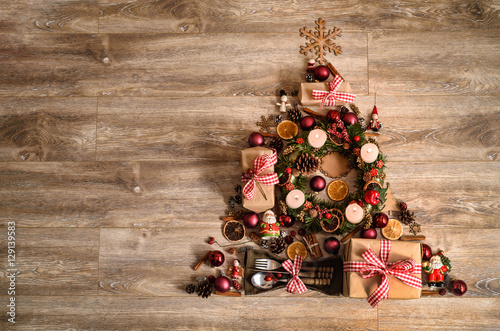 Alternative Christmas Decorations.Alternative Christmas Tree Made From Gift Boxes And Rustic