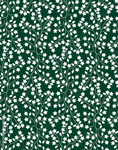 Repeating Ivy Pattern With Flowers And Leaves White Silhouettes On Dark