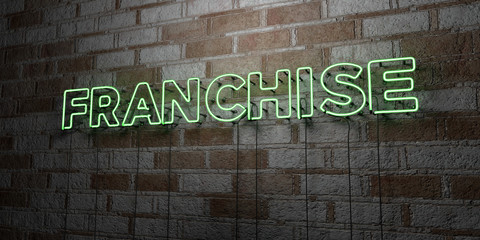 FRANCHISE - Glowing Neon Sign on stonework wall - 3D rendered royalty free stock illustration.  Can be used for online banner ads and direct mailers..