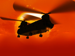 "3d rendering of helicopter CH-47 ""Choonuk"" flying over big sun"