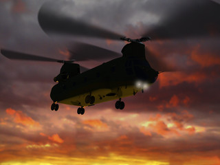 "3d rendering of helicopter CH-47 ""Chinook""  flies sunset clouds"