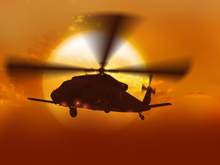 """3d rendering of helicopter UH-60 """"Blackhawk"""" flying over big sun"""