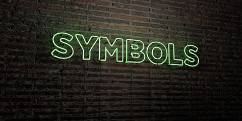SYMBOLS -Realistic Neon Sign on Brick Wall background - 3D rendered royalty free stock image. Can be used for online banner ads and direct mailers..