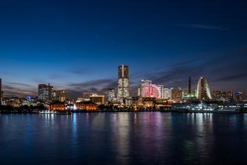 Yokohama Minato Mirai 21 seaside urban area in Japan at dusk
