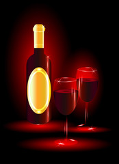 Red wine with glasses on red background