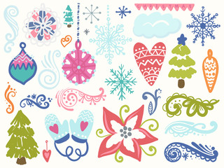 Winter hand drawn elements