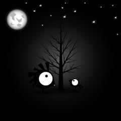 Birds with big eyes. Night sky. Vector