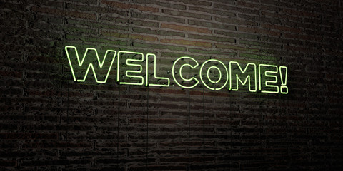 WELCOME! -Realistic Neon Sign on Brick Wall background - 3D rendered royalty free stock image. Can be used for online banner ads and direct mailers..