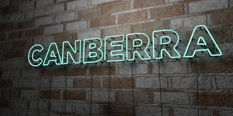 CANBERRA - Glowing Neon Sign on stonework wall - 3D rendered royalty free stock illustration.  Can be used for online banner ads and direct mailers..