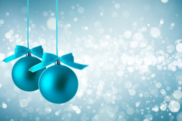 Christmas background with blue ball.