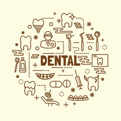 dental minimal thin line icons set