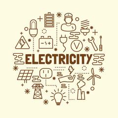 electricity minimal thin line icons set