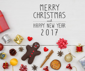 Christmas and Happy new year object decoration flat lay with copy space on white wooden background
