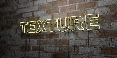 TEXTURE - Glowing Neon Sign on stonework wall - 3D rendered royalty free stock illustration.  Can be used for online banner ads and direct mailers..