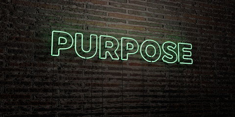 PURPOSE -Realistic Neon Sign on Brick Wall background - 3D rendered royalty free stock image. Can be used for online banner ads and direct mailers..