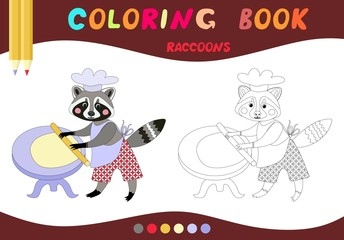 Coloring book. Cute raccoon - baker. Vector illustration for children education.
