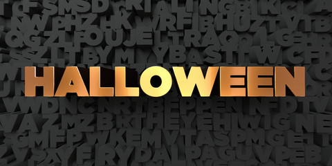 Halloween - Gold text on black background - 3D rendered royalty free stock picture. This image can be used for an online website banner ad or a print postcard.
