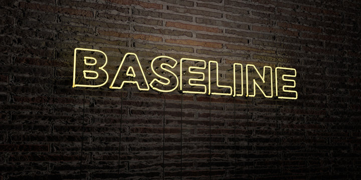 BASELINE -Realistic Neon Sign on Brick Wall background - 3D rendered royalty free stock image. Can be used for online banner ads and direct mailers..