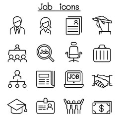 Job & Employment icon set in thin line style