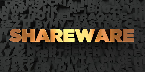 Shareware - Gold text on black background - 3D rendered royalty free stock picture. This image can be used for an online website banner ad or a print postcard.