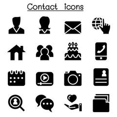 Contact icons set for social network