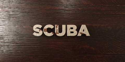 Scuba - grungy wooden headline on Maple  - 3D rendered royalty free stock image. This image can be used for an online website banner ad or a print postcard.