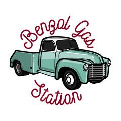 Color vintage gas station emblem