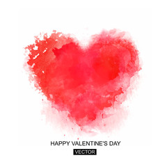 Heart. Valentines day card. Vector illustration.Abstract Background with Watercolor Stains, Vector Design